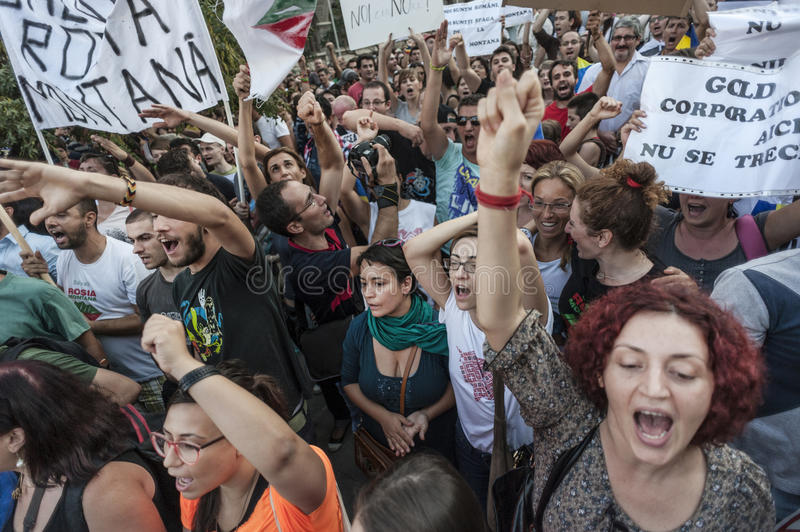 Thousands rally in Romania against Canadian-controlled gold mine on Bucharest stock images