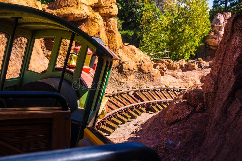 Disney Big Thunder Mountain Railroad Roller Coaster Ride. Thousands of visitors come to Anaheim Disneyland each day. One of the more popular rides is royalty free stock images