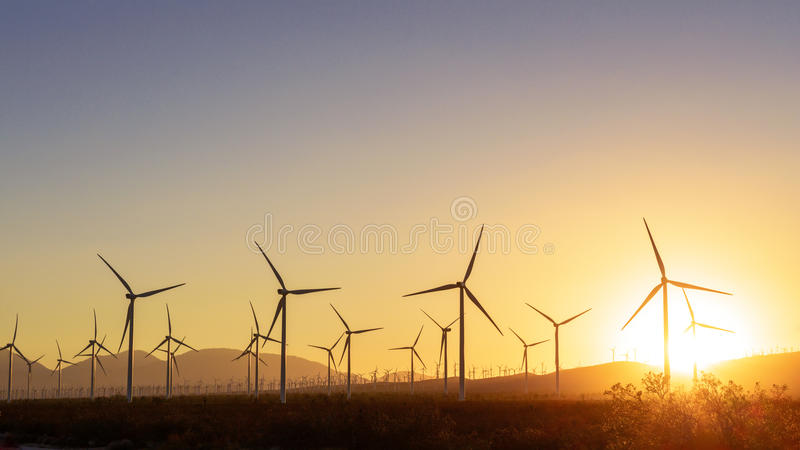 Download Thousands Of Wind Turbines At Sunset Stock Photo - Image: 33611920
