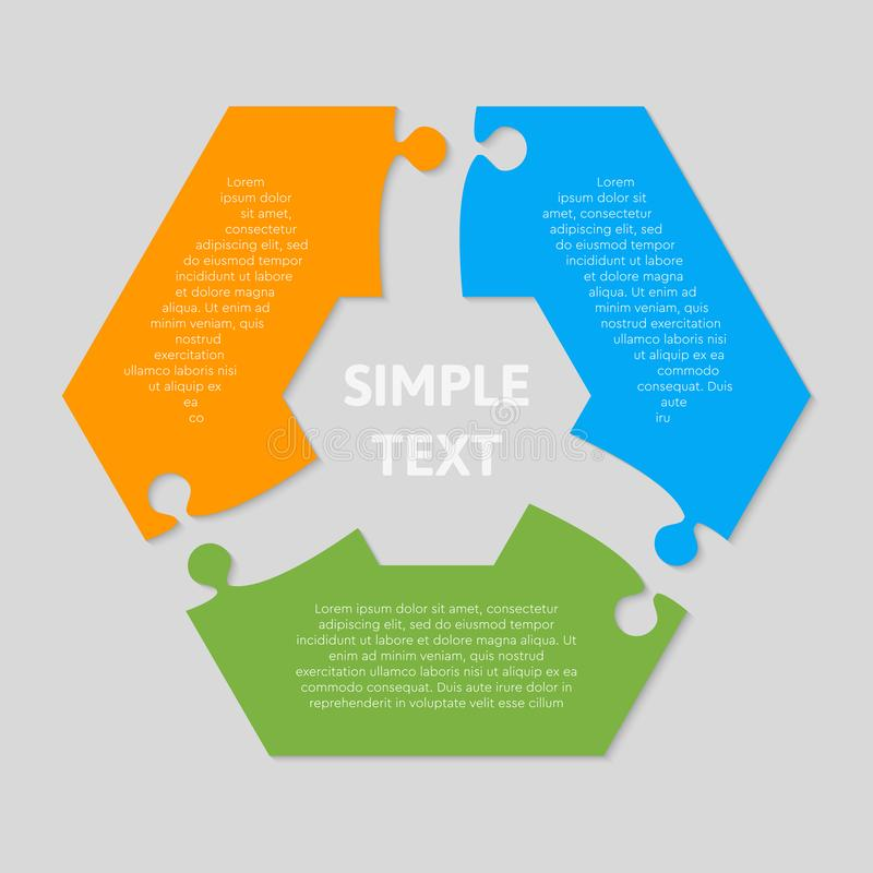 Thre puzzle jigsaw hexagon diagram info graph. Three pieces puzzle hexagonal diagram. Hexagon business presentation infographic. 3 steps, parts, pieces of stock illustration
