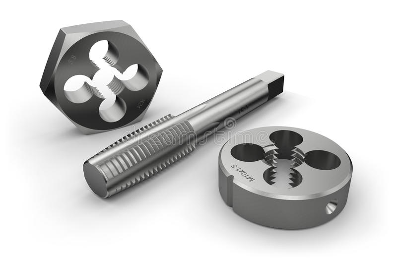 Thread cutting tools (tap and die) royalty free illustration