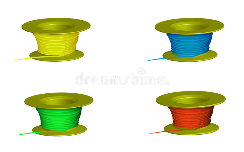 Thread. Four skeins of thread colors stock illustration