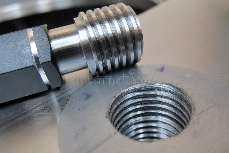 Thread Gauge. Equipment for test the thread of hole after Taping is Thread Gauge stock photography