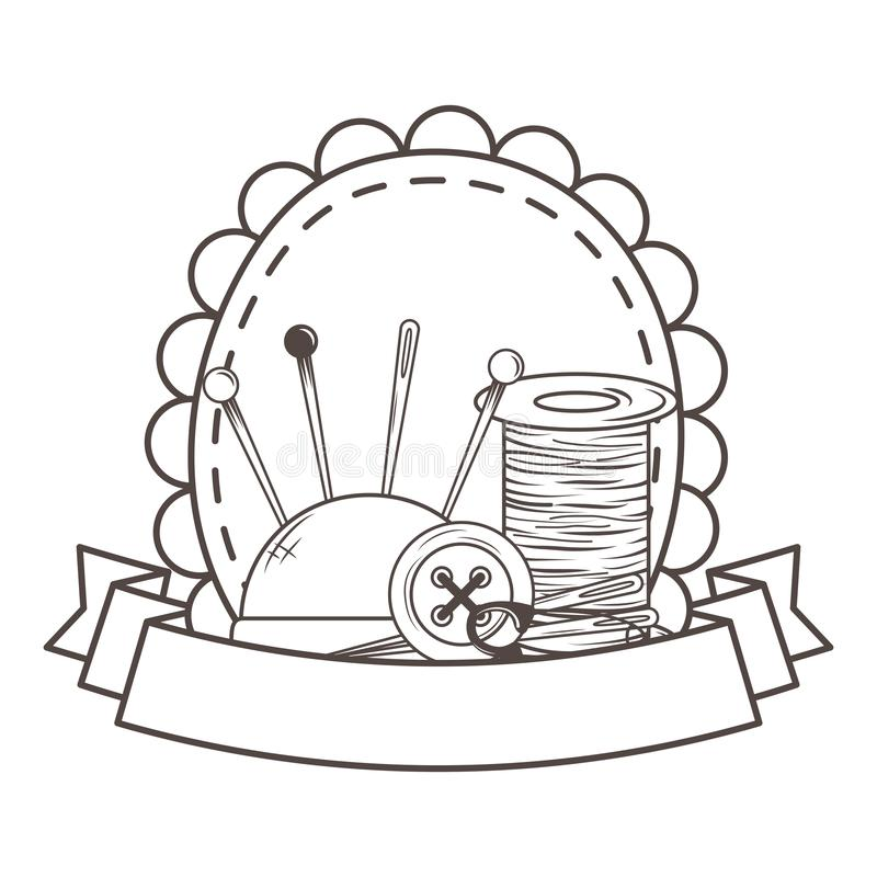Thread needle button and pin design stock illustration