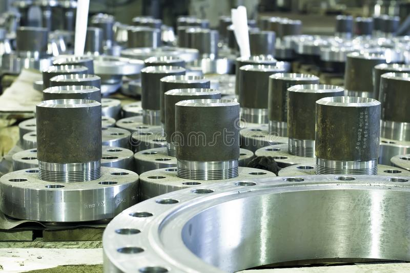 Threaded flanges with unions stock image
