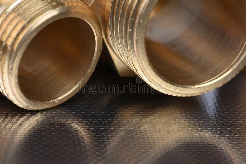 Threaded pipe fittings stock image