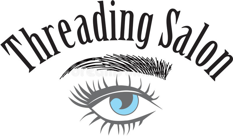 Threading Salon logo. Eyebrows hair strokes stock illustration