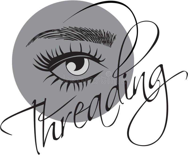 Threading Salon logo. Eyebrows hair strokes permanent makeup stock illustration