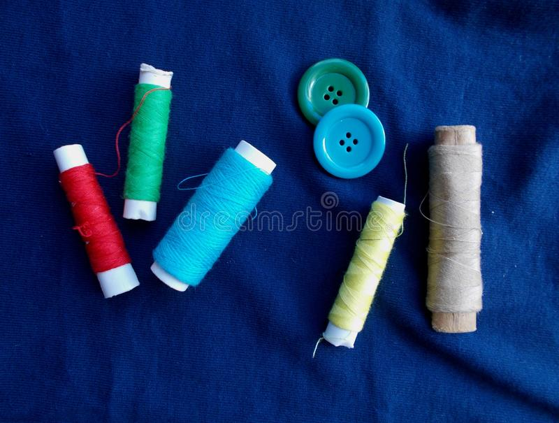 Threads and buttons royalty free stock images