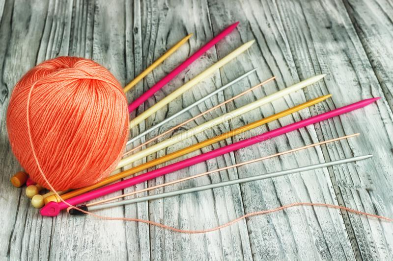 Threads for knitting close-up. Knitting as a hobby. Accessories for knitting royalty free stock photos