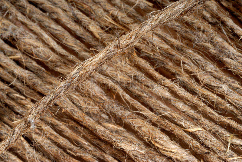 Threads of a rope. Photo close up of threads of a rope stock photos