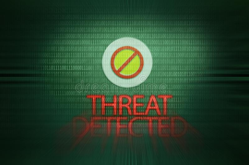 Threat detected message. Computer virus. System error. Security risk stock photos