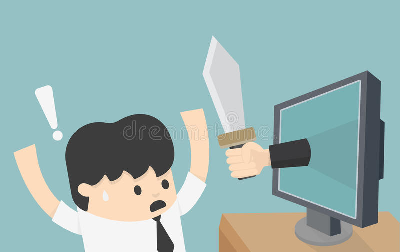 Threat of the Internet. Cartoons concepts Threat of the Internet eps10 stock illustration