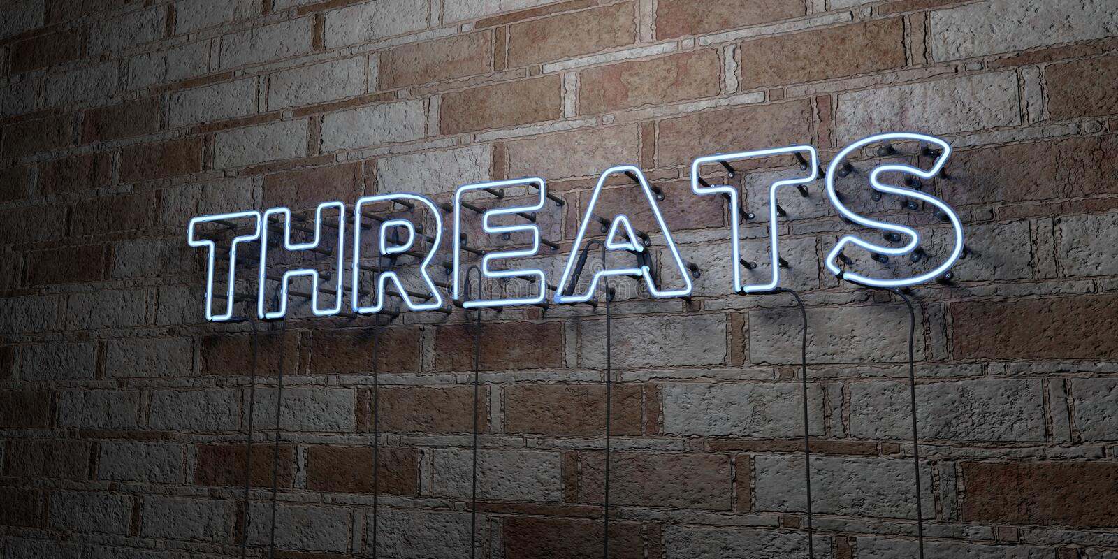 THREATS - Glowing Neon Sign on stonework wall - 3D rendered royalty free stock illustration. Can be used for online banner ads and direct mailers royalty free illustration