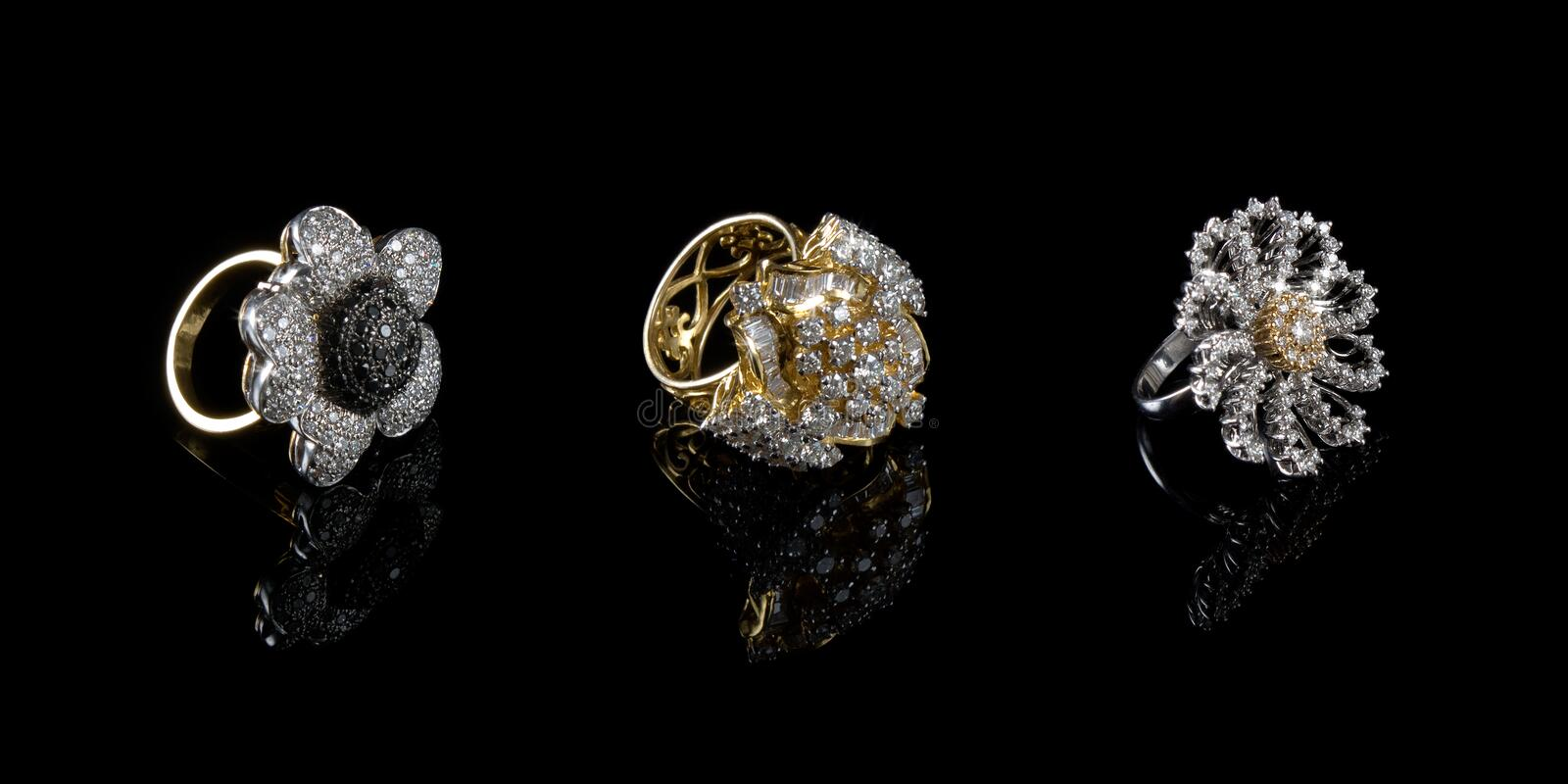 Three (3) Diamond rings stock photos