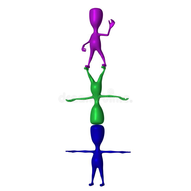 Download Three 3d Puppets Standing On Eachothers Stock Illustration - Image: 26501566