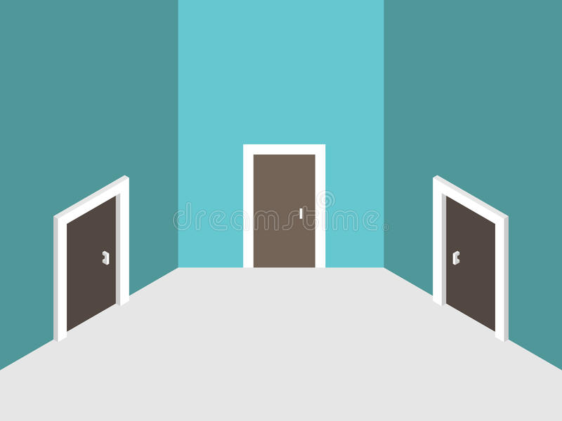 Three abstract closed doors stock illustration