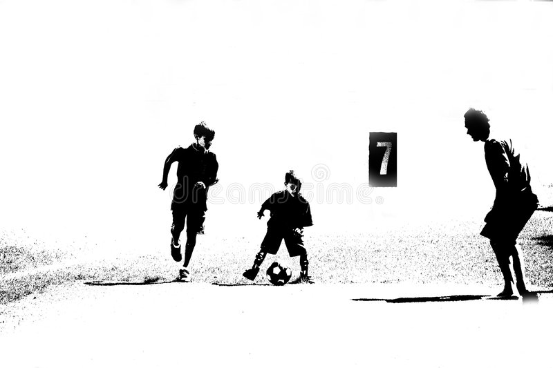 Download Three Abstract Soccer Players Stock Illustration - Image: 4428318
