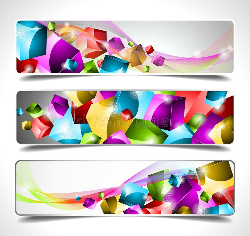 Download Three Abstract Vector Banner Background Stock Vector - Illustration of backdrop, shiny: 20903775