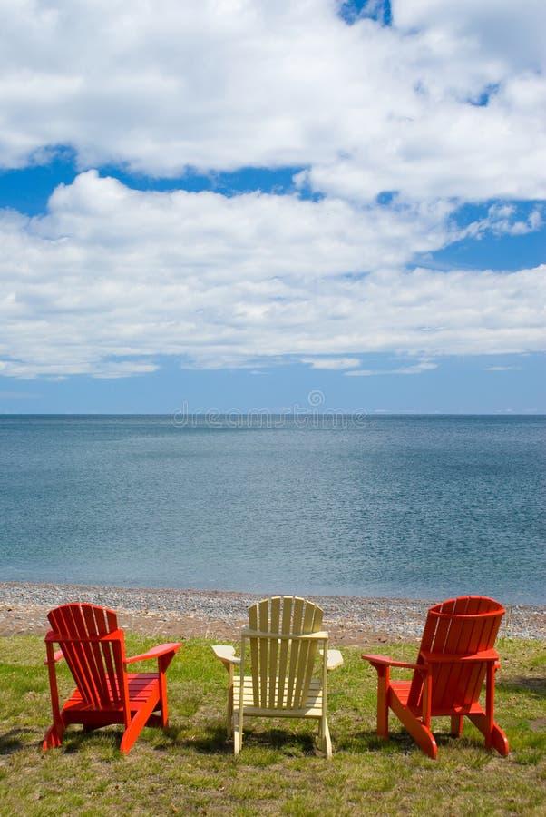 Three Adirondack Chair stock photo