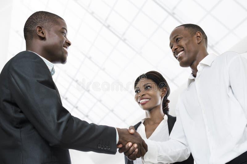 Three african business people handshake. Studio Shot, Cameroon stock image