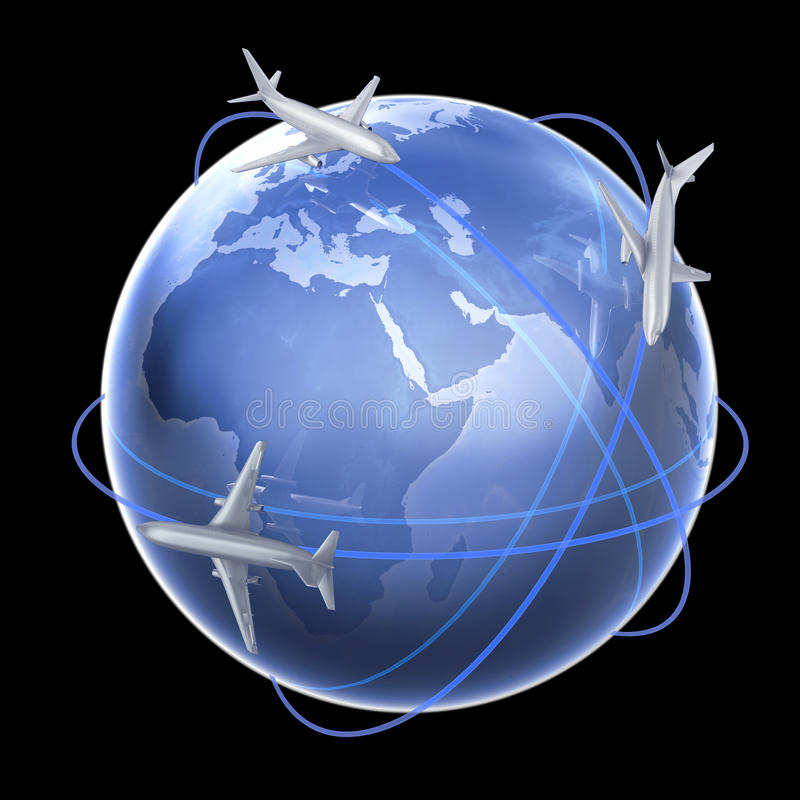 Download Three Airplanes Around The Globe Stock Images - Image: 11507004
