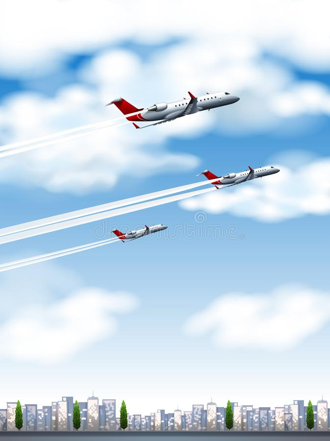 Three airplanes flying over the city royalty free illustration