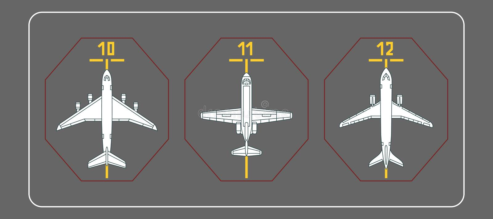 Three airplanes on the terminal apron. Vector illustration. Each object is grouped individually royalty free illustration