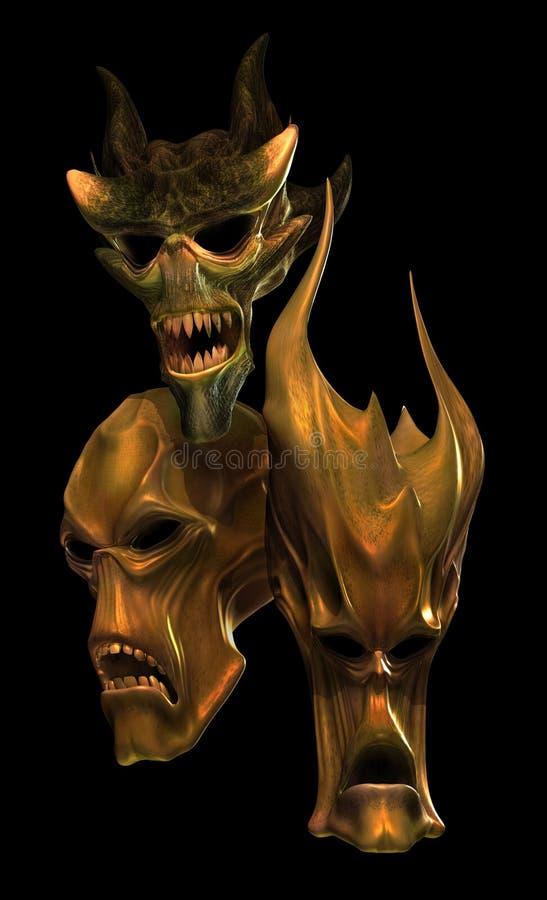 Three Alien Skulls royalty free illustration