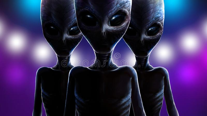 Three aliens on background of lights spaceship. 2D vector illustration