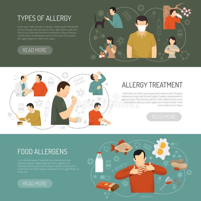 Three Allergy Banner Set. Three horizontal colored allergy banner set with types of allergy allergy treatment food allergens descriptions vector illustration royalty free illustration