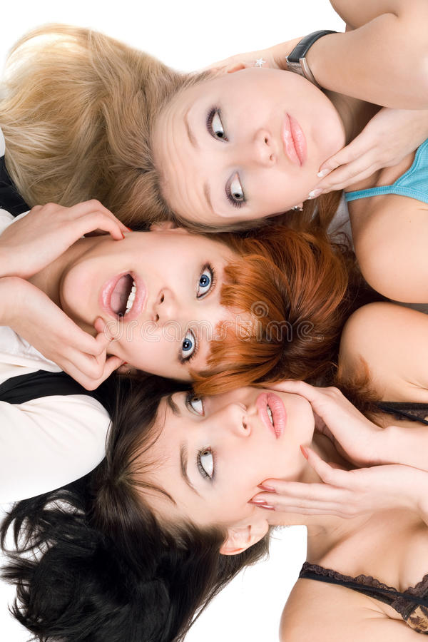 Download Three Amazed Women Touching Their Cheeks Stock Image - Image: 15122075