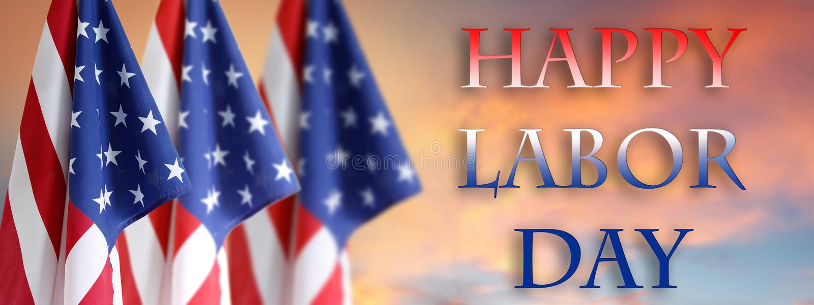Labor day American flags royalty free stock image