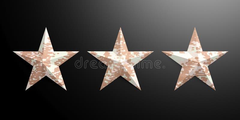 Three American military pattern stars isolated on black background. 3d illustration stock illustration