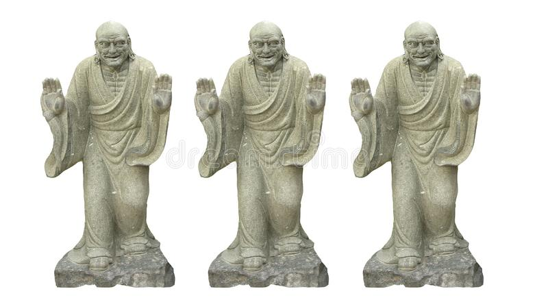 Three Ancient Chinese buddhist  sculture isolated on white backgrounds. stock images