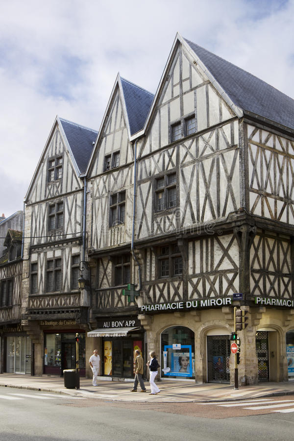 Three ancient half-timbered houses in Dijon, France stock photography