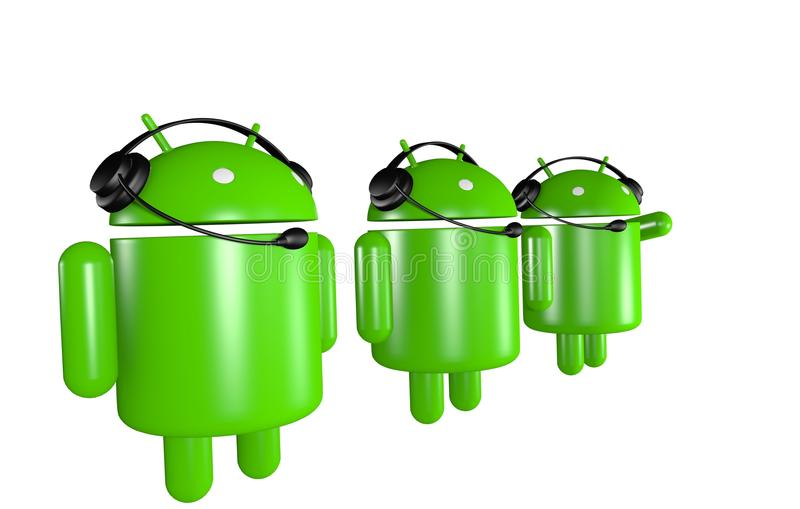 Three Android Robots Support royalty free illustration
