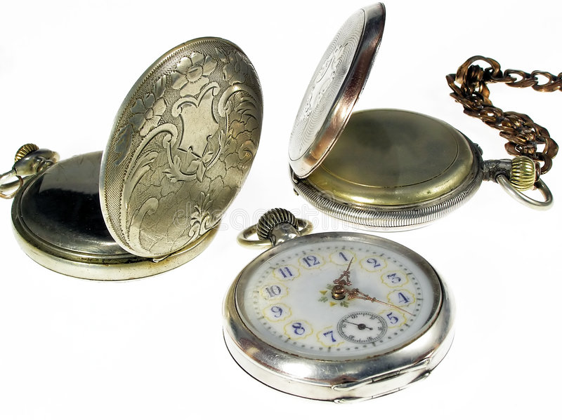three antique pocket watches royalty free stock images