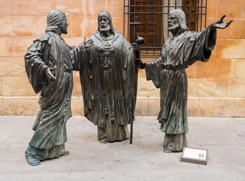 Three Apostles Sculpture in Elche, Spain. Sculpture of the Three Apostles outside the Basilica of Santa Maria in Elche. Alicante, Spain stock image