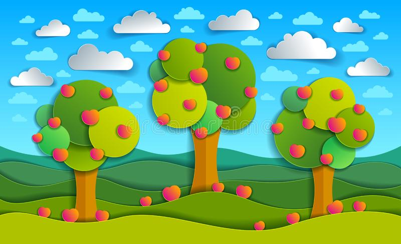 Three apple trees in the field scenic nature landscape cartoon m royalty free illustration