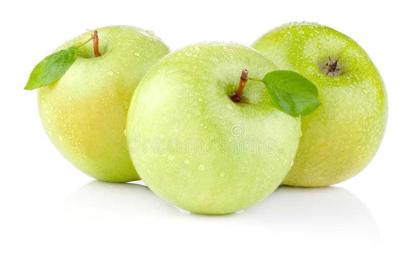 Download Three Apples With Green Leaves And Water Drops Stock Image - Image: 25557859