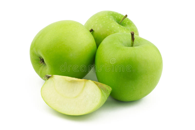 Download Three Apples And One Quarter Stock Photo - Image: 25816488