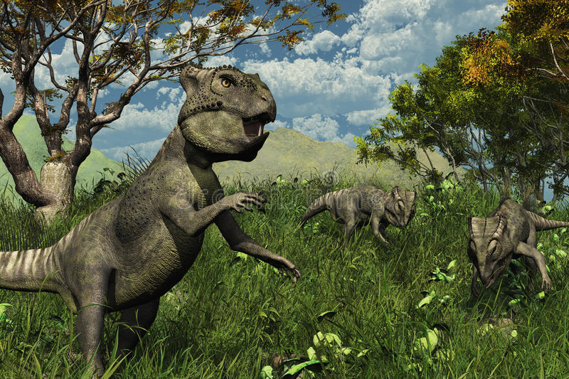 Download Three Archaeoceratops Dinosaurs Exploring Stock Illustration - Image: 19524121