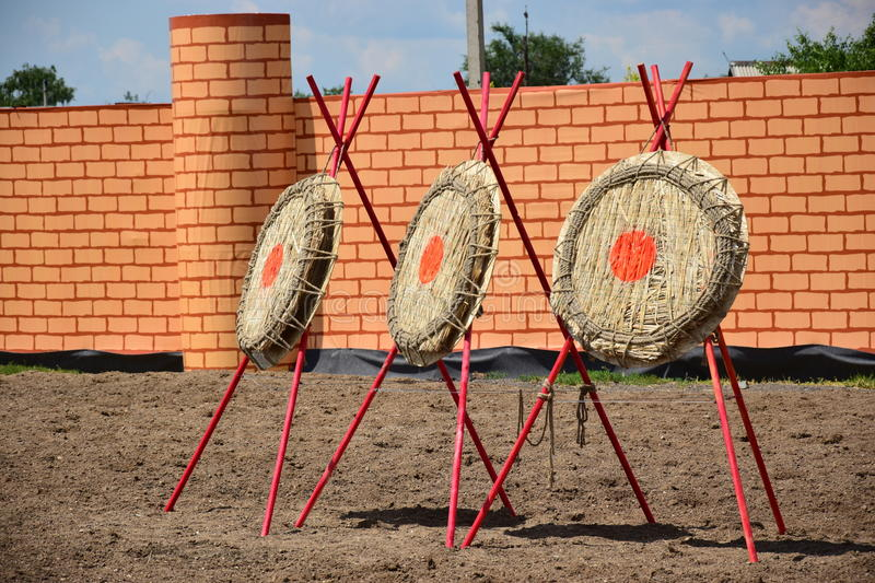 Three archery goals sunlit royalty free stock photography