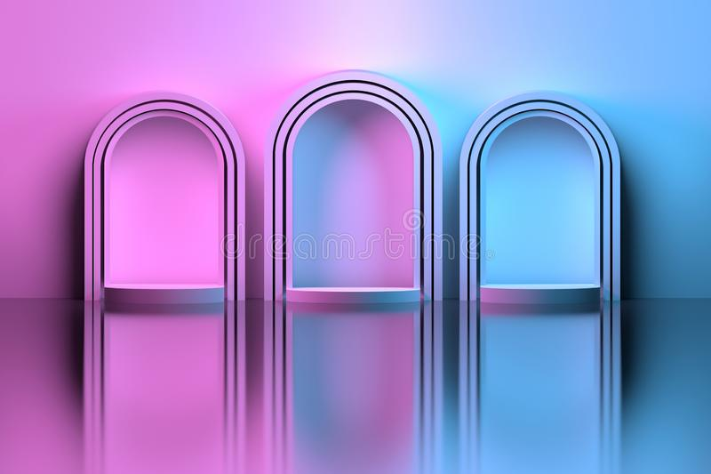 Three arches over mirror floor colored with pink blue gradient color stock illustration
