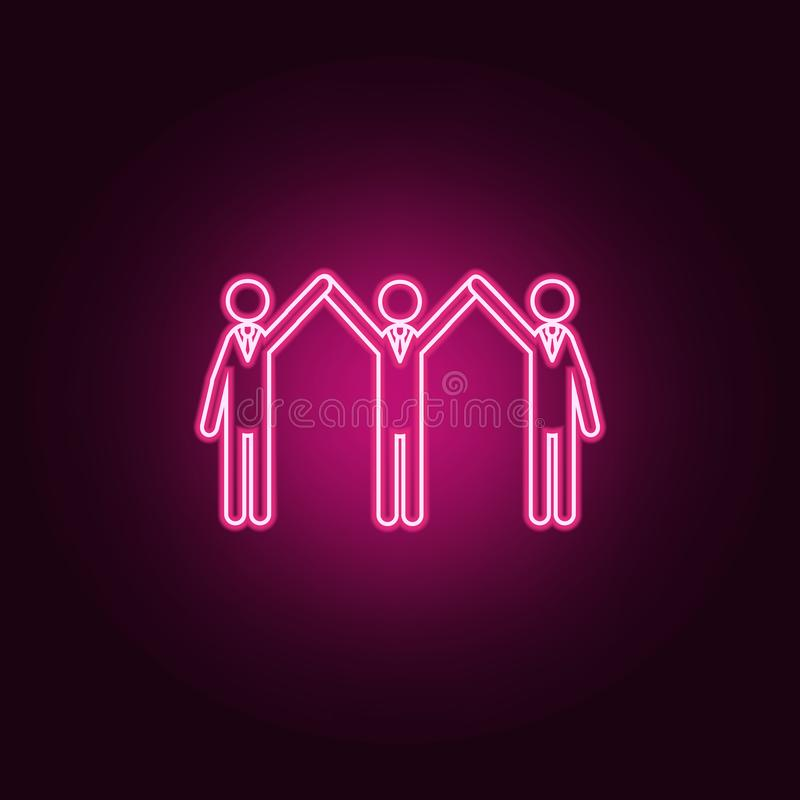 three with arms raised neon icon. Elements of Team work set. Simple icon for websites, web design, mobile app, info graphics stock illustration