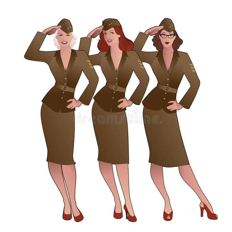 Free Three Army Girls In Retro Style Wearing Soldiers Uniform From The 40s Or 50s Stock Images - 124318844