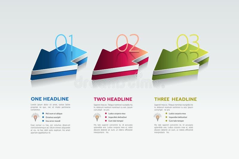 Three arrows. 3 steps diagram, elements, charts, infographics. stock illustration