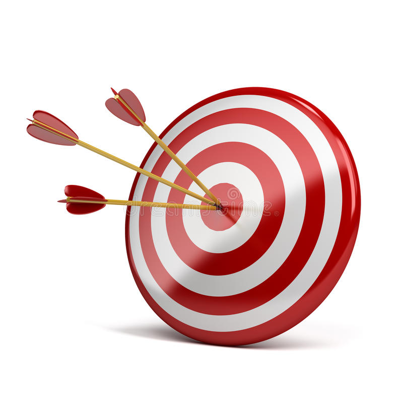 Download Three arrows in target stock illustration. Image of score - 25186924