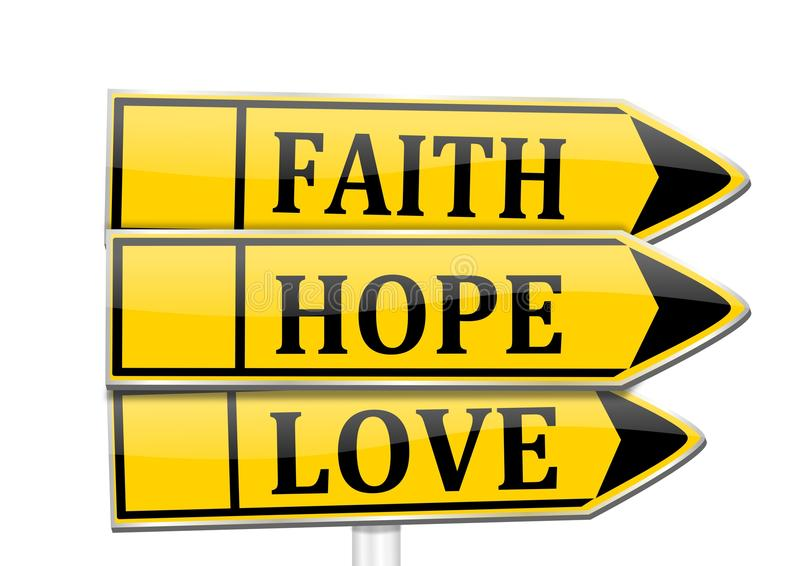 Download Three Arrows With The Words Faith, Hope, Love Stock Illustration - Image: 37007741